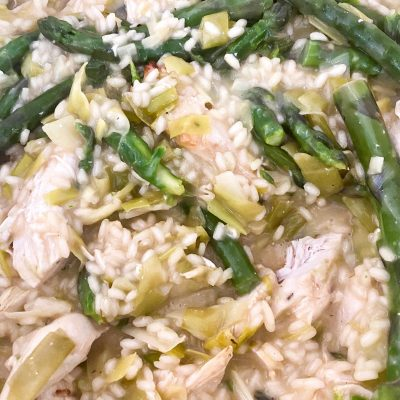Creamy chicken and asparagus risotto